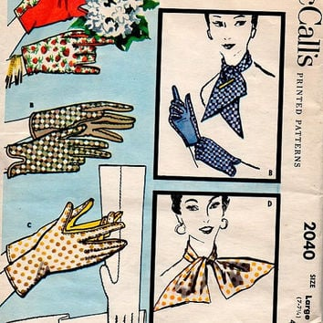 Simplicity 2040 Sewing Pattern 1950s Driving Opera Elbow Wrist length Gloves Scarf Ascot Uncut FF Size Large 7-7 1/2
