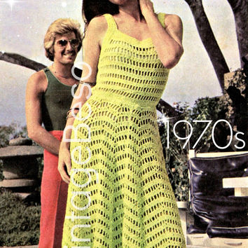 Sexy Summer Dress Crochet Pattern 1970s Vintage Pattern Mod Dress Pattern Bohemian Clothing Bust 32, 46, 36 - Pdf Pattern - INSTANT Download