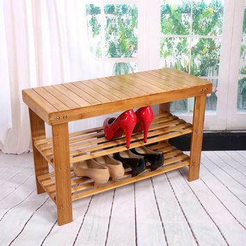 FREE Shipping 2 Tier Solid Wood Shoe Cabinet Nan Bamboo Shoe Racks Simple Shelves Shelves Flower Racks