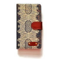 LG G4 Wallet Case Tribal Pattern For LG G4 Antique Book LG G4 Wallet Vintage Look L695