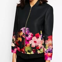 Black Floral Print Long-Sleeve Zippered Blouse