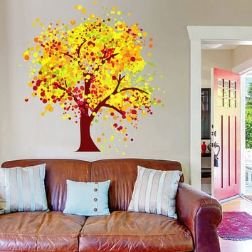 kcik123 Full Color Wall decal tree autumn children's bedroom living room