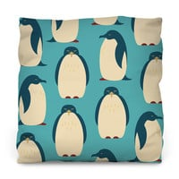 Happy Penguins Outdoor Throw Pillow