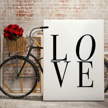 LOVE Typography print, Dorm Decor, coffee print, Wall Art print, Typography Poster