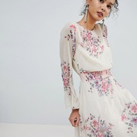 Miss Selfridge High Neck Floral Mini Dress at asos.com