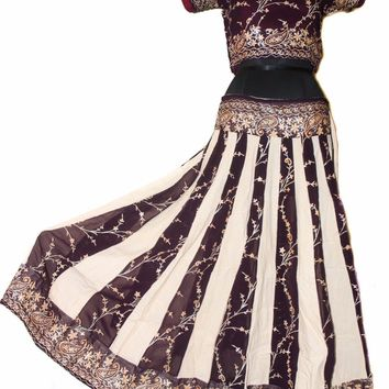 Gopi Skirt Outfit Burgundy Chiffon Peach & Silver Sparkle India Full Skirt Small