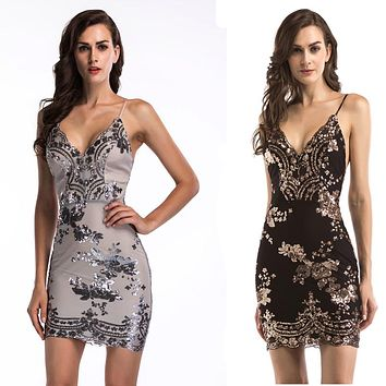 Streetstyle  Casual 2018 Summer Mini Dress Womens Sexy Gold Dropship Sequin Dress Twinkle Sequin Overlay Dress Glitter Party Dress