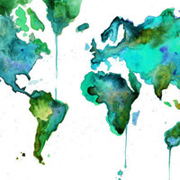Watercolor World Map No 6 by JessicaIllustration on Etsy