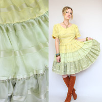 60s - H Bar C Ranchwear - Sheer - Pastel Yellow & Green - Striped Panel - Country Western - Full Circle Skirt Dress