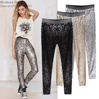 GP8 New Celeb Style Womens Stretchable Sparkle Metallic Shinning Full Sequined Pants Slim Skinny Pencil Pants