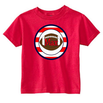 Football with Red Stripes on Personalized Red T-Shirt