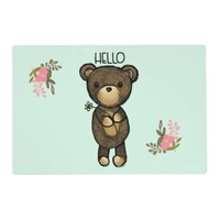 Cute Brown Bear Holding a Yellow Flower Placemat
