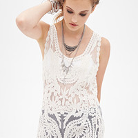 FOREVER 21 Embroidered Mesh Tunic Cream