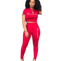 Champion Fashion New Summer Letter Print Hooded Sports Leisure Long Sleeve Top And Pants Two Piece Suit Red