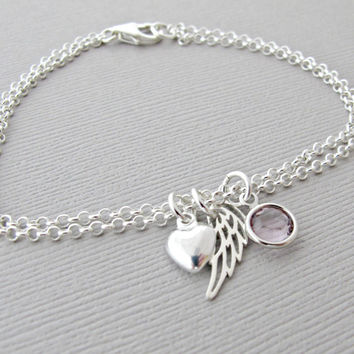 Angel Wing Bracelet, Memorial Jewelry, Memorial Bracelet, Angel Wing Jewelry, Memorial Gift, Angel Wing Gift, Sympathy Jewelry, Sympathy