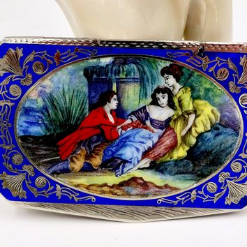 Vintage 800 SILVER ENAMEL COMPACT Italy Enamel Courting Scene Box Patch Box Powder Compact Mirror
