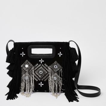Black leather embellished cross body bag - Cross Body Bags - Bags & Purses - women