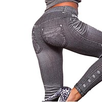 2017 Leggings Jeans for Women Denim Pants with Pocket Slim Jeggings Fitness Leggins 5 Patterns