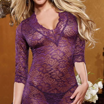 Purple Floral Lace V-Neck Babydoll Lingerie