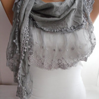 Gray Shawl Scarf Cotton Shawl Scarf  Cowl headband with Lace Edge