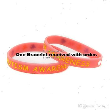 Pink AUTISM AWARENESS Rubber Silicone Bracelet