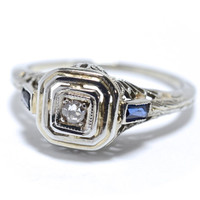 Art Deco Diamond, Sapphire  and 18K White Gold Filigree Ring - Size 3.75