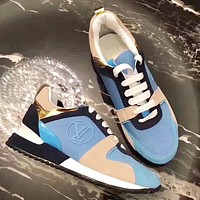 Louis Vuitton LV Popular Women Personality Color Matching Casual Lace-Up Sport Sneakers Shoes Light Blue/Khaki I-ALS-XZ