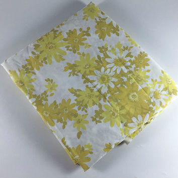 Vintage Flower Double Bed Flat Sheet Retro Yellow Olive Green White Floral Fabric Linens Bedding Bedroom Decor