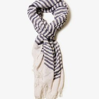 Frayed Striped Scarf