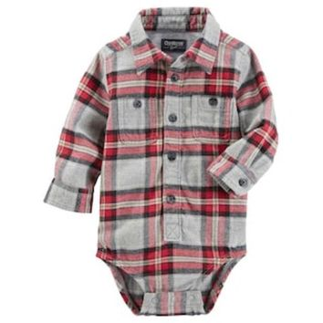 ONETOW Baby Boy OshKosh B'gosh® Red & Gray Plaid Flannel Bodysuit | null