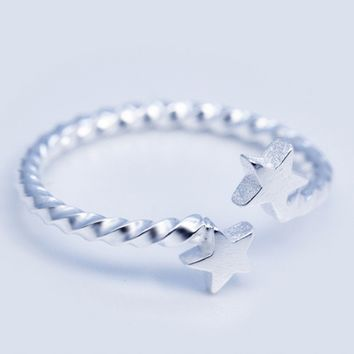 Double star 925 Sterling Silver ring
