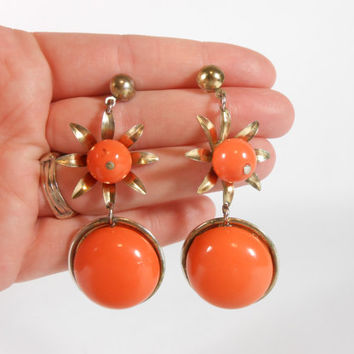Orange Flower Earrings Costume Jewelry Retro Lucite Earrings