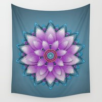 Embroidered look, purple  Wall Tapestry by IvanaW