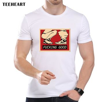 TEEHEART Men's Vintage sexy Good Feeling Printed T-Shirt Cool Summer Modal Vintage Hipster Top Tees la364