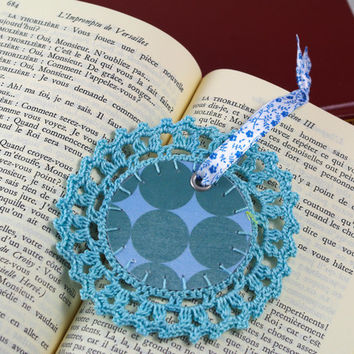 bookmark Turquoise lace circle geometric crochet romantic shabby chic