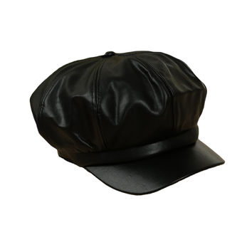 Faux Leather Dome Beret Hat