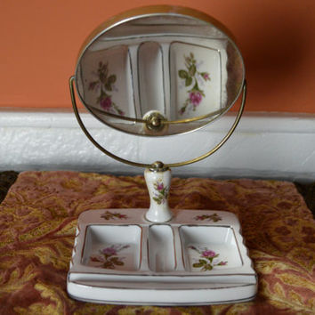 Make Up Mirror Vanity Set, Vintage Vanity Set, Ornate Dresser Set, 50's Vanity Set, Hand Painted Roses, Bathroom Vanity, Bedroom Decor,