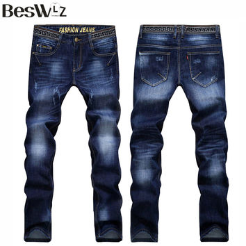 Beswlz Men Jeans Pants Casual Fashion Classical Denim Jeans Men Slim  Male Jeans