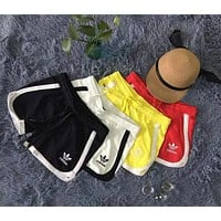 Adidas Women Fashion Drawstring Stripe Print Shorts