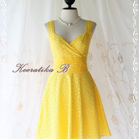 Sound Of Summer II - Sweet Elegant Spring Summer Lacy Sundress Bright Yellow Color Thick Cotton Lace Party Wedding Cocktail Dress
