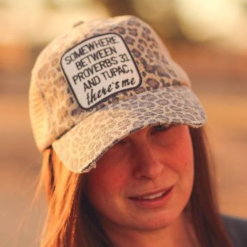 Proverbs 31 & Tupac Trucker Hat in Distressed Cheetah