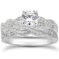 Real .95CT Pave Diamond Matching Engagement Wedding Ring Set Vintage Milgrain