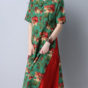 Streetstyle  Casual Color Block Printed Cotton/Linen Maxi Dress