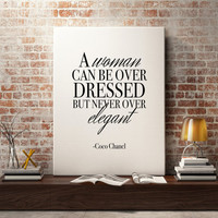 Coco Chanel quote, Fashion poster, fashion prints, Fashion wall art - Elegant