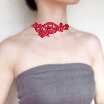 red lace bib necklace choker SALE pearl beaded venise lace vintage flower vintage chain handcrafted Fabric jewelry woman wedding party