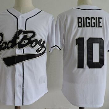 White Baseball Jersey Biggie Smalls Bad Boy Baseball Jersey 10# Retro Throwback Short Sleevele