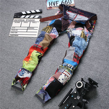 Ripped Holes Mosaic Rinsed Denim Denim Pants Straight Jeans [6541737475]