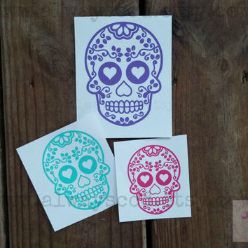Sugar Skull vinyl Decal 27 color choices