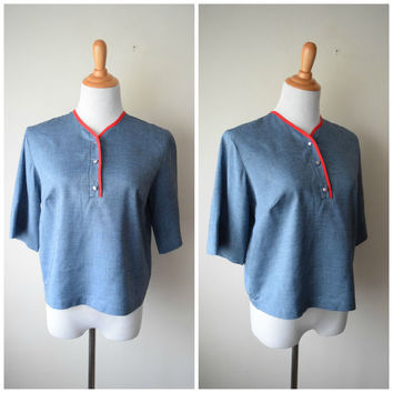 50s Slate Blue w Red Edging Short Sleeve Boxy Blouse w Buttons // Rockabilly Greaser Girl  // New Old Stock