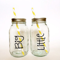 Big and Little Mason Jar Tumblers, Big Gift, Little Gift, Sorority Gift, Big and Little Gifts, Mason Jars, Tumblers, Cups, Straws, Mason Jar